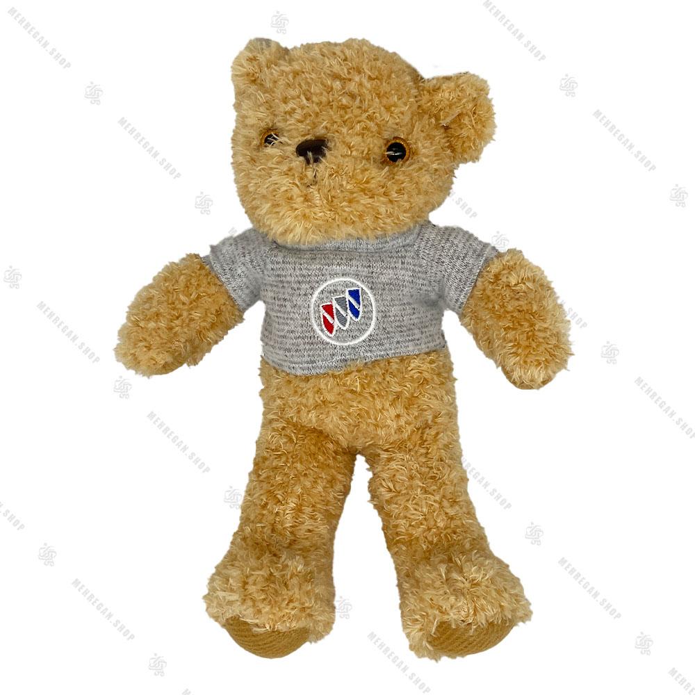 عروسک پولیشی خرس قهوه ای پلیور طوسی