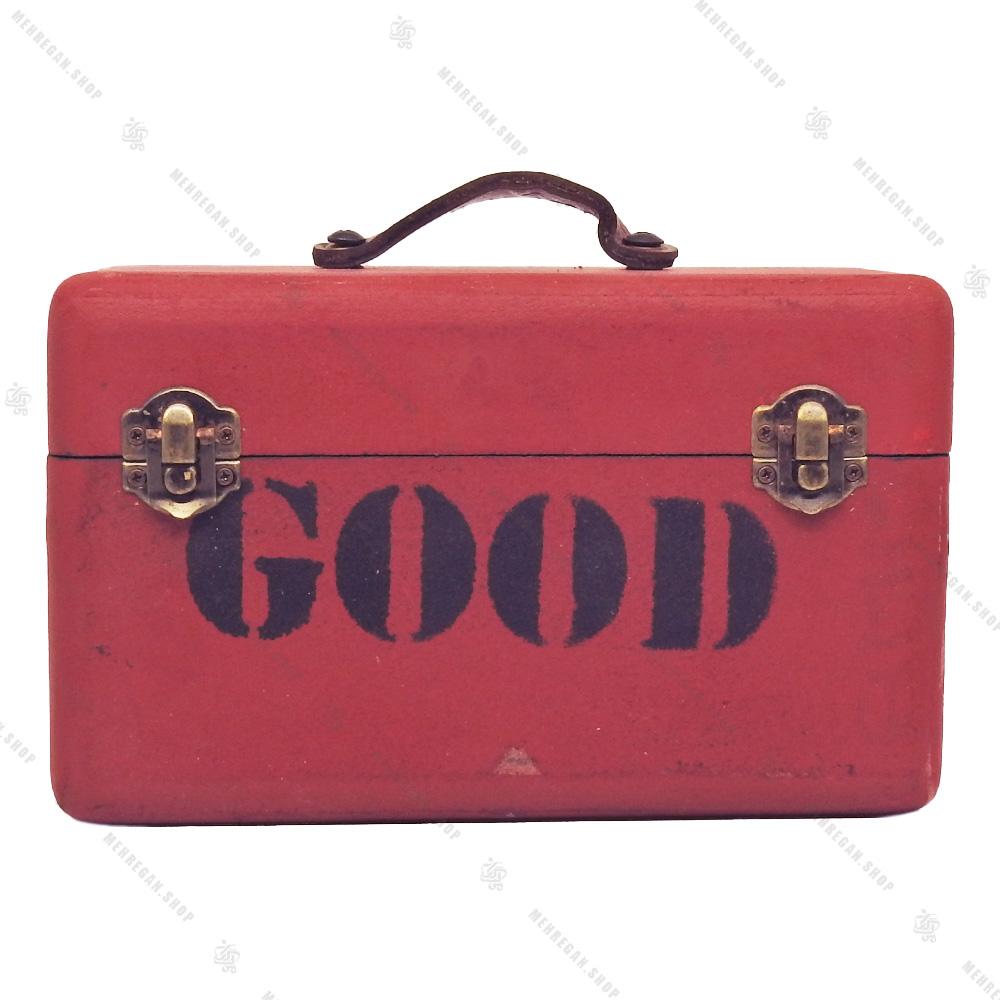 جعبه چوبی دکوری بسیار کوچک طرح چمدان قرمز