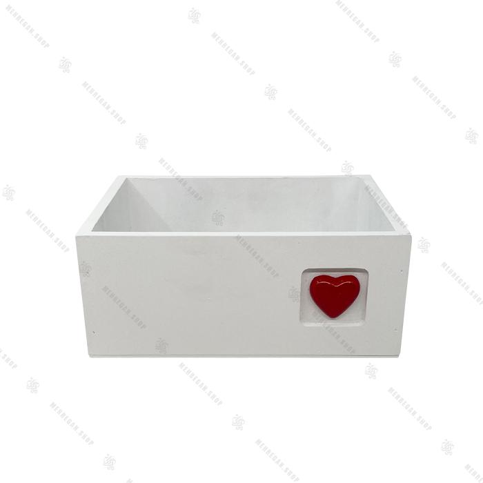 جعبه چوبی دکوری سفید با قلب سایز بزرگ