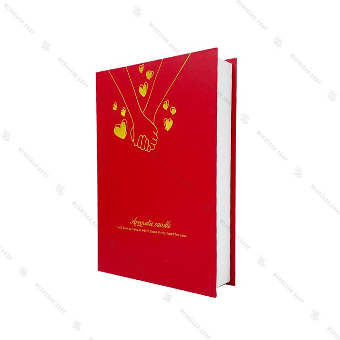 جعبه شمع کادوئی 9 عددی قلب و لب قرمز