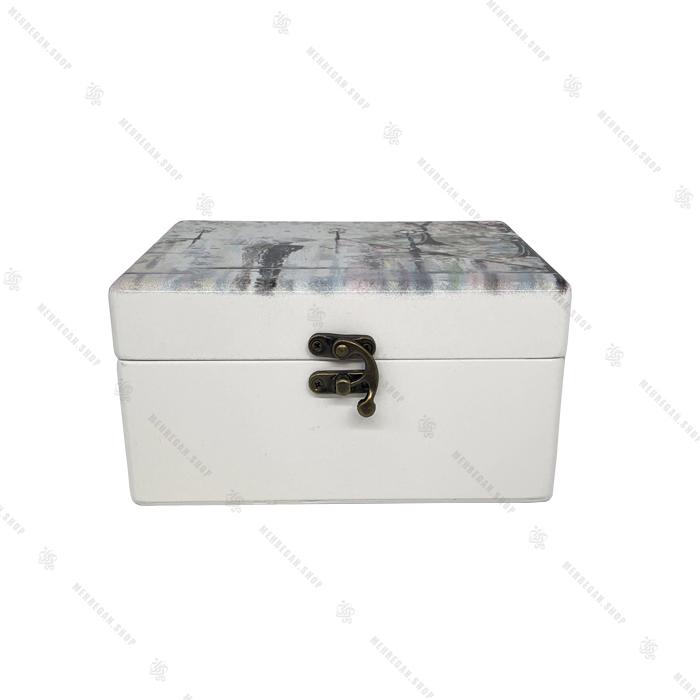 صندوقچه چوبی سفید طرح چتر و پائیز کوچک