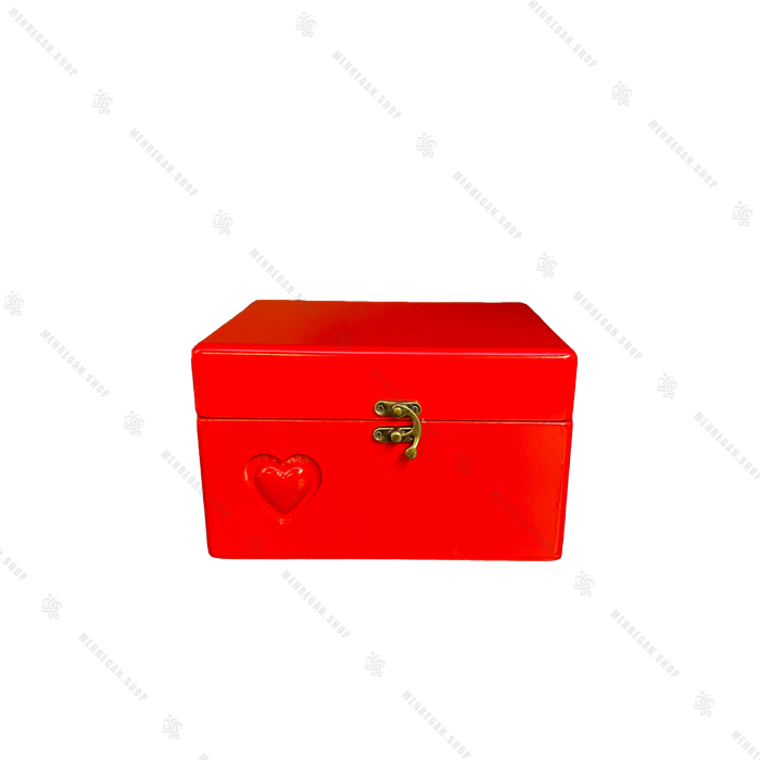 صندوقچه چوبی قرمز طرح قلب برجسته سایز متوسط