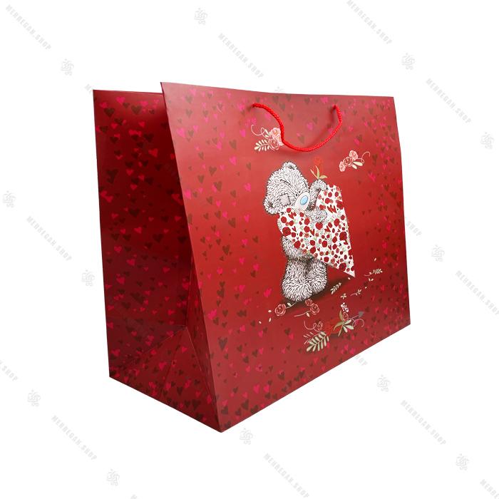 بگ هدیه قرمز طرح خرس با قلب
