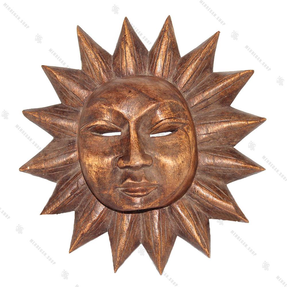 دیوار کوب چوبی طرح خورشید