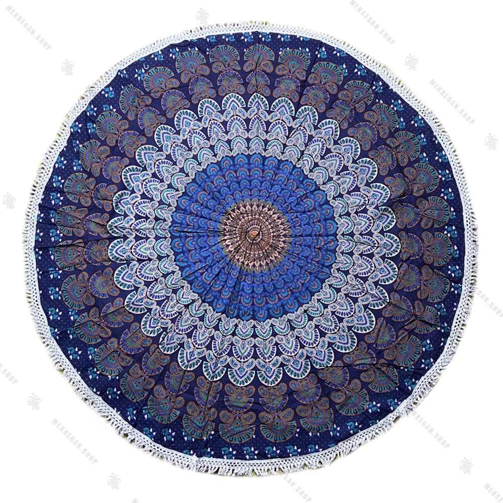 رومیزی گرد ماندلا طرح پر طاووس آبی