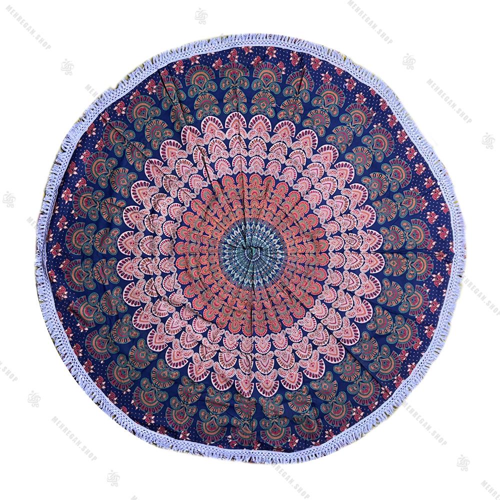 رومیزی دایره ای ماندلا طرح پر طاووس سرمه ای