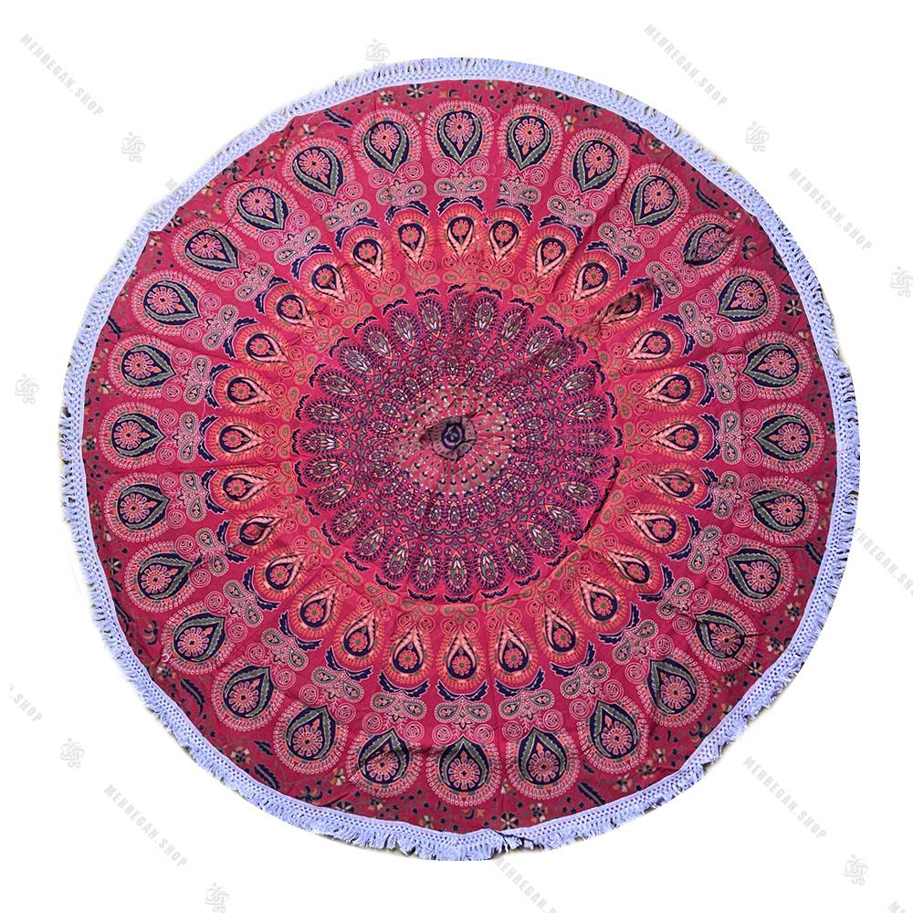 رومیزی دایره ای ماندلا طرح بته جقه قرمز