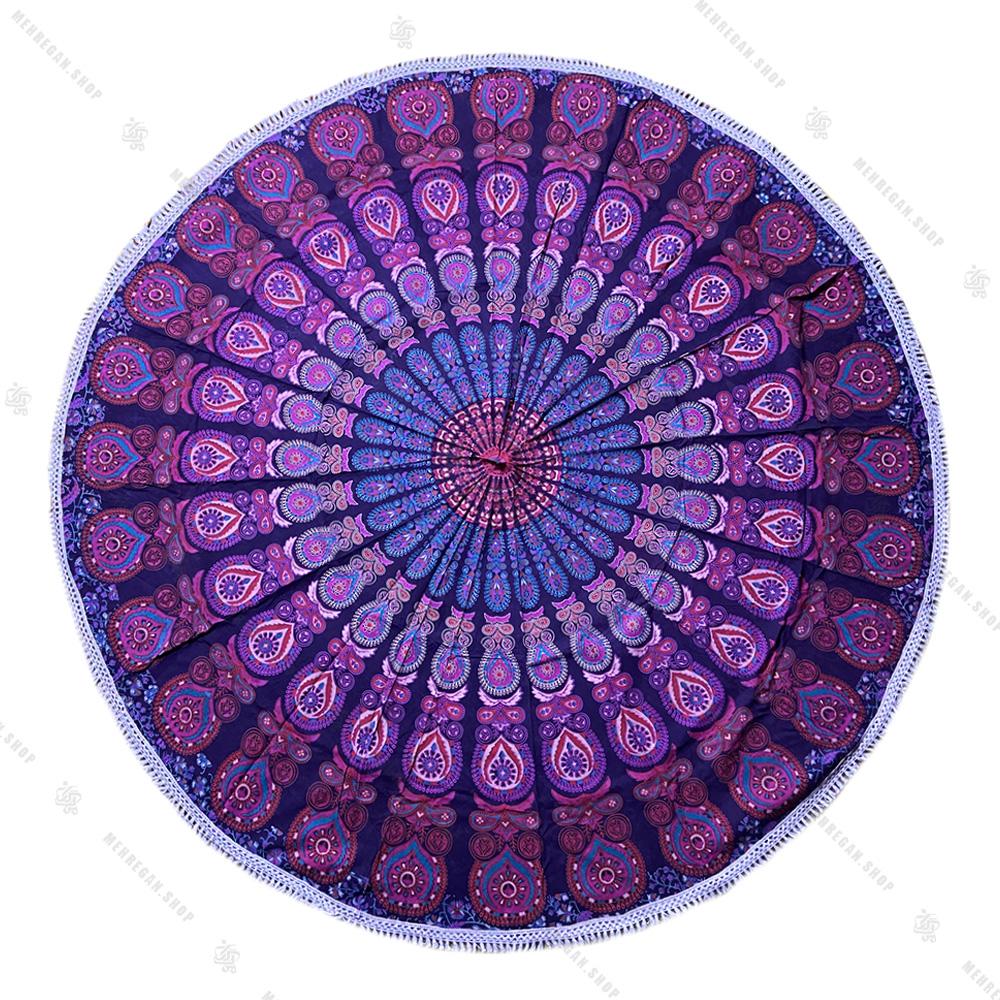 رومیزی دایره ای ماندلا طرح بته جقه بنفش