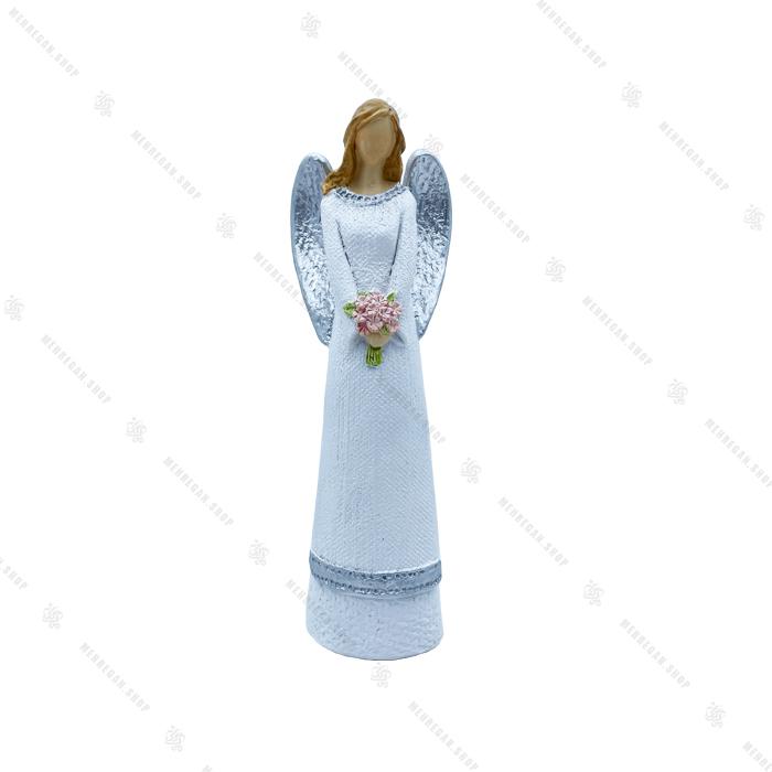 مجسمه دکوری رزینی فرشته گل بدست