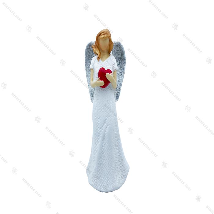مجسمه دکوری فرشته بال نقره ای قلب دار