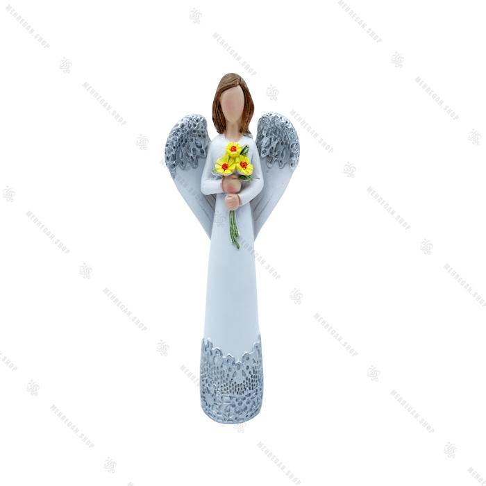 مجسمه رزینی دکوری فرشته با گل زرد