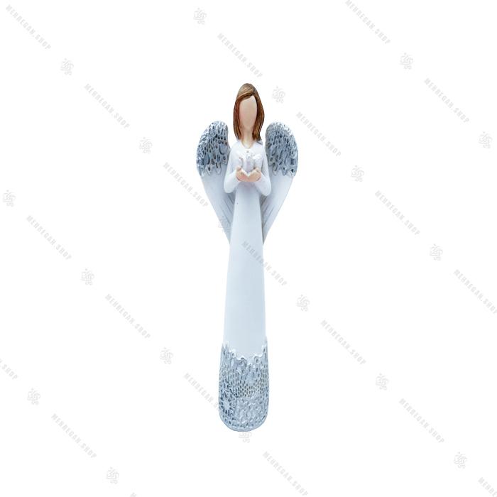 مجسمه دکوری رزینی فرشته بال دار با پرنده