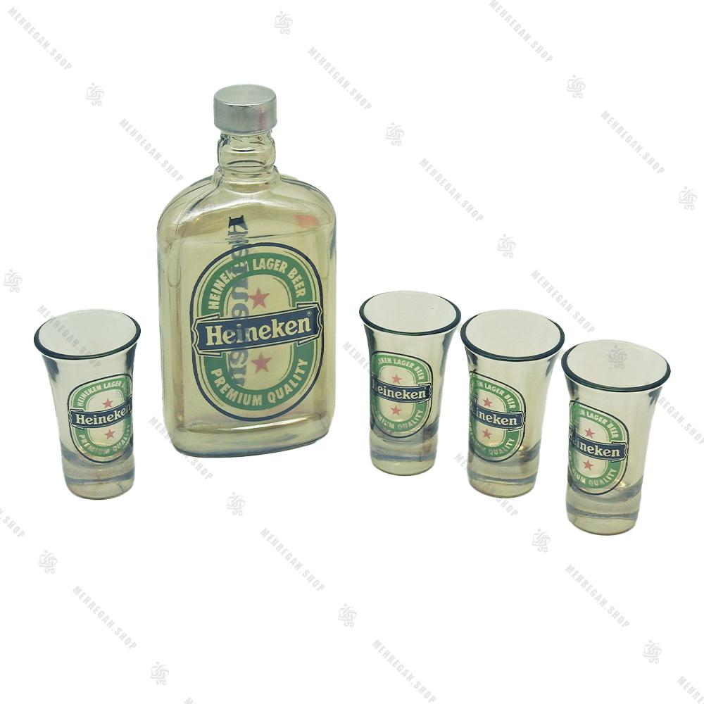 ست نوشیدنی شفاف 4 عددی مدل گرین اپل-Green Apple