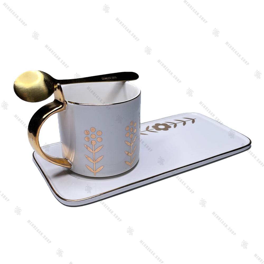 ست سه تیکه قهوه خوری سرامیکی سفید
