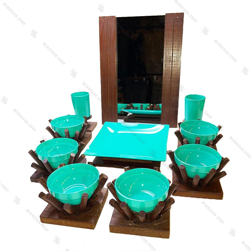 مجموعه ظروف هفت سین چوبی 10 پارچه مدل فیروزه ای