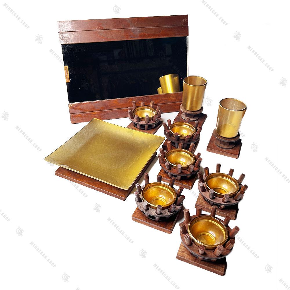 مجموعه ظروف هفت سین چوبی 10 پارچه مدل سینی مربع
