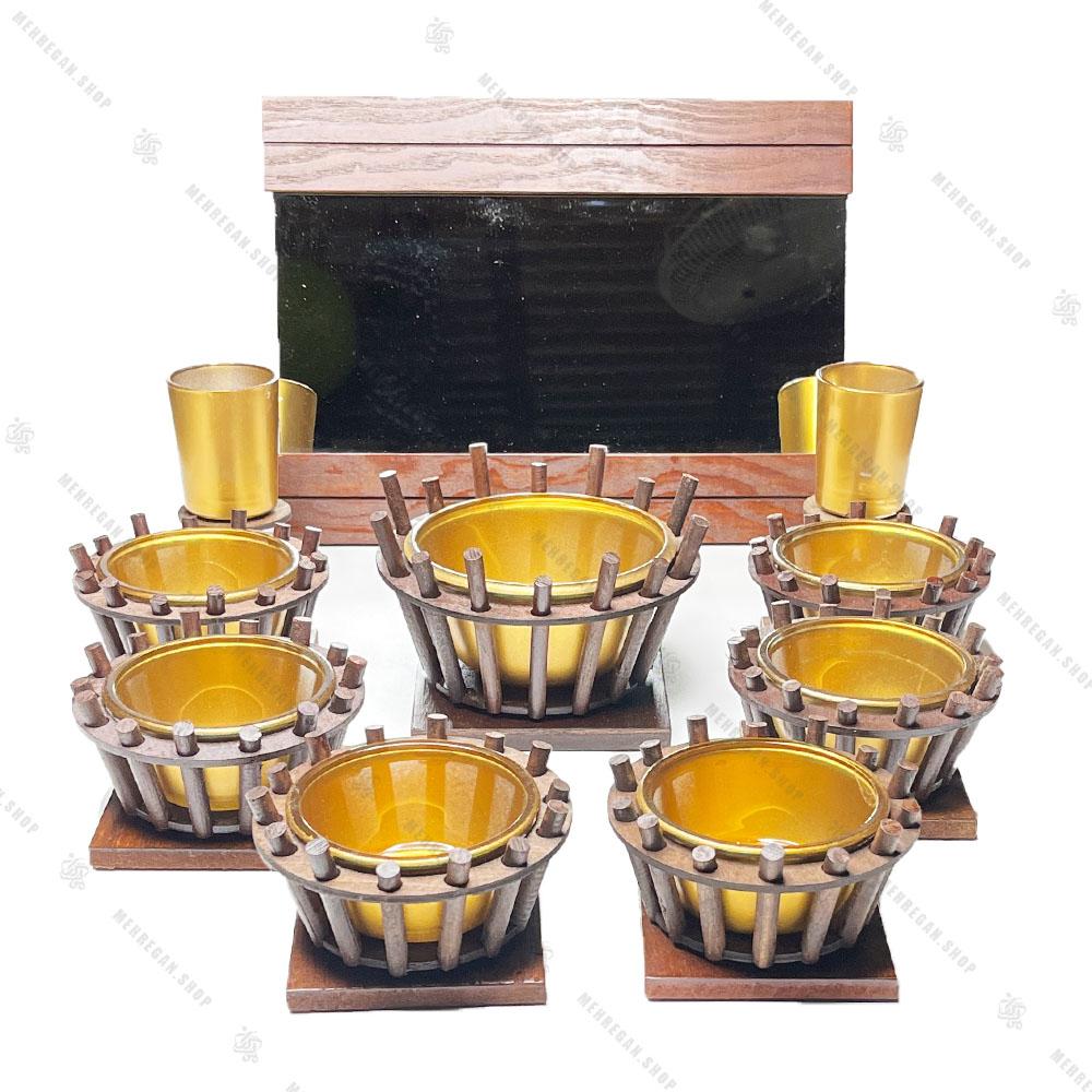 مجموعه ظروف هفت سین چوبی 10 پارچه مدل سینی مربع (کپی)