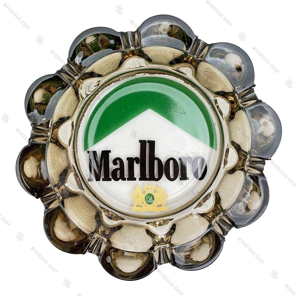 زیرسیگاری شیشه ای گرد طرح Marlboro