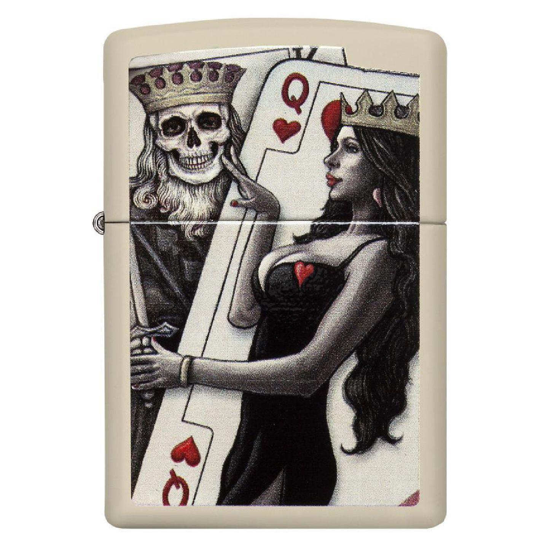 فندک زیپو Zippo اصل مدل Skull King Queen Beauty کد 29393